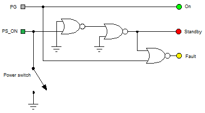 Power supply schematic with NOR gates only